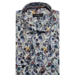 Koszula męska 16/18, błękitna z długim rękawem, z granatowym obszyciem w kotwice, SLIM FIT (by Pako Lorente)